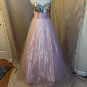 Pink strapless dress with rhinestone top
